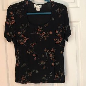 Frazier Lawrence coral print w/black cap sleeve